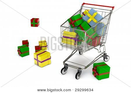 Shopping cart with many colorful christmas gifts