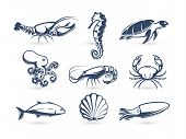 Underwater World Vector Icon Collection. Engraving Silhouette Modern Style. Lobster, Turtle, Crab, S poster