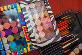 Set Of Makeup Brushes, Brushes For Cosmetics Of Different Sizes. Overview Of Tools Of A Makeup Artis poster