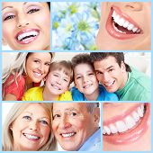 foto of human teeth  - Smiling happy people with healthy teeth - JPG