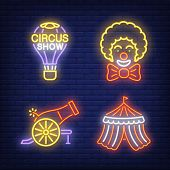 Circus Tent, Cannon, Clown And Hot Air Balloon Neon Signs Set. Circus Show And Entertainment Design. poster