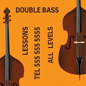 Double Bass Lessons Brochure With Bass In Realistic Style. Ready Design. poster