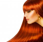 stock photo of red hair  - Beautiful Girl with Healthy Long Hair - JPG
