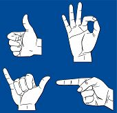 pic of hand gesture  - Vector illustration Isolated hands gesture on blue background - JPG