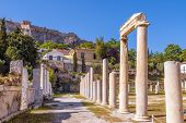 Roman Agora Overlooking Acropolis Of Athens, Greece. It Is An Old Landmark Of Athens. Scenic View Of poster