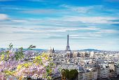 Skyline Of Paris City With Eiffel Tower From Above In Soft Morning Light With Spring Cloudscape, Fra poster