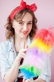 Cleaning Pin Up Woman. Smiling Pinup Girl Holds Colorful Duster Brush. Cleaning Service. Pin-up Girl poster