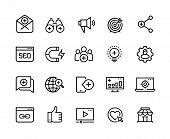 Inbound Marketing Line Icons. Lead Social Media, Action Marketing Influence And Target Audience Attr poster