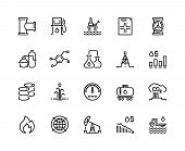 Oil Line Icons. Gas Fuel Station, Chemical Industry Petrol Tank, Petroleum Refinery Factory, Oil Rig poster