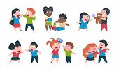 Kids Behavior. Cartoon Brother And Sister Fight Cray Play, Cute Little Boy Girl Happy Characters. Ve poster