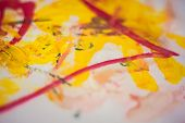Childrens Drawing On Paper. Childrens Drawing Paints. Dirty On Paper poster
