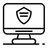 Police Computer Monitor Icon. Outline Police Computer Monitor Icon For Web Design Isolated On White  poster