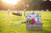 Picnic Basket, Bouquet, Bicycle On Grass In Park poster