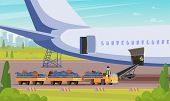 Car With Luggage Passengers Flat Illustration. Vector Airplane Background. Airport Attendants Brough poster