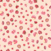 Fuzzy Water Colour Flower Seamless Wallpaper, Floral Background. Blured  Watercolor Botanical Illust poster
