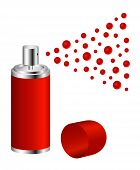 stock photo of ozone layer  - Spray in red design on white background - JPG
