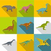 Figures Of Dinosaurs Icon Set. Flat Style Set Of 9 Figures Of Dinosaurs Icons For Web Design poster