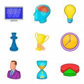 Champion Coaching Icon Set. Cartoon Set Of 9 Champion Coaching Icons For Web Design Isolated On Whit poster