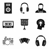 Musical Tour Icons Set. Simple Set Of 9 Musical Tour Icons For Web Isolated On White Background poster