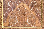 Details Of Fine Wood Carving Art. An Thai Art And Craft In Temple. Abstract Wood Carving. Wood Carvi poster