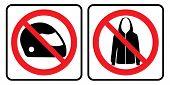 No Helmet Symbol And No Jacket Sign.no Helmet Symbol And No Jacket Sign In White Background Drawing  poster