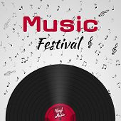 Banner For The Retro Music Festival. Musical Poster For Your Design. Music Elements Design For Card, poster