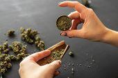 Marijuana Use Concept. Close Up Of Marijuana Blunt With Grinder. Woman Preparing And Rolling Marijua poster