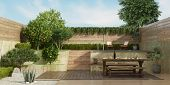 Garden On Two Levels With Old Dininig Table, Wooden Bench And Small Pool On Backgrround - 3d Renderi poster