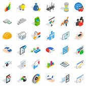 Capital Icons Set. Isometric Style Of 36 Capital Icons For Web Isolated On White Background poster