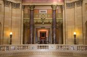 stock photo of bannister  - Interior of Minnesota State Capitol at East Wing showing State Supreme Court entrance - JPG