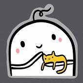 Home Pet Cat On Hands Of Monster Illustration For Sticker poster