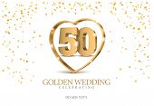 Anniversary Golden Wedding 50 Years Married. Gold 3d Numbers In Heart. Poster Template For Celebrati poster