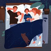 Mother, Father And Children Sleeping Together On One Bed. Mom, Dad And Kids Embracing Each Other And poster