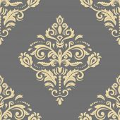 Classic Seamless Vector Pattern. Damask Orient Ornament. Golden Classic Vintage Background. Orient O poster