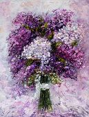 Original Oil Painting Showing Fresh Pink,purple And White Hyacinth Flowers Bouquet On Canvas.modern  poster