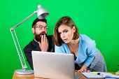 Love Affair At Work. Seduction. Business Couple At Computer. Woman And Man Work In Office At Laptop. poster