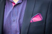 View To The Young Mans Shirt And Coat With A Pocket A Reddish-purple Square. Mens Suit Accessories.  poster