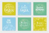 Vector Set Of Hand Drawn Doodle Easter Cards, Banners Isolated. Flowers, Eggs With Holiday Lettering poster