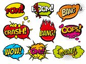 Comic Book Sound Effect Speech Bubbles, Expressions. Collection Vector Bubble Icon Speech Phrase, Ca poster