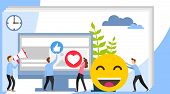 Social Media Concept With Characters. Social Media Theme, Flat Style, Colorful, Vector Icon Set For  poster