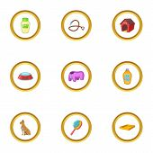 Pet Accessory Icons Set. Cartoon Style Set Of 9 Pet Accessory Pet Icons For Web Design poster