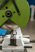 Circular Saw Machine. Cutting A Metal And Steel With With Sharp, Circular Blade In Workshop Interior poster
