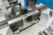 Vise To Secure The Workpiece. Circular Saw Machine. Cutting A Metal And Steel With With Sharp, Circu poster