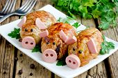 Pork Meatballs - Baked Cutlet Meatball Meatloaf Stuffed With Minced Meat And Rice In Crispy Chicken  poster