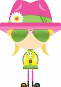 Cartoon Sixties Flower Power Hippie Girl In Flower Hat And Sunglasses poster