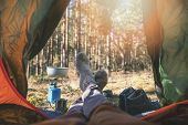 Wanderlust Outdoor Camping - Traveler Feet Out Of The Tent poster