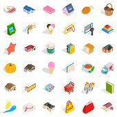 Nice Icons Set. Isometric Style Of 36 Nice Icons For Web Isolated On White Background poster
