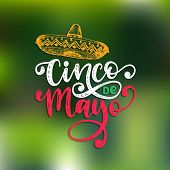 Cinco De Mayo, Hand Lettering. Translation From Spanish 5 May. Vector Calligraphy With Illustration  poster
