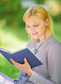 Girl Interested Sit Park Read Book Nature Background. Reading Inspiring Books. Female Literature. Re poster