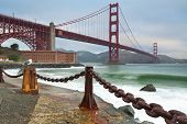 stock photo of golden gate bridge  - Image of Golden Gate Bridge in San Francisco California - JPG